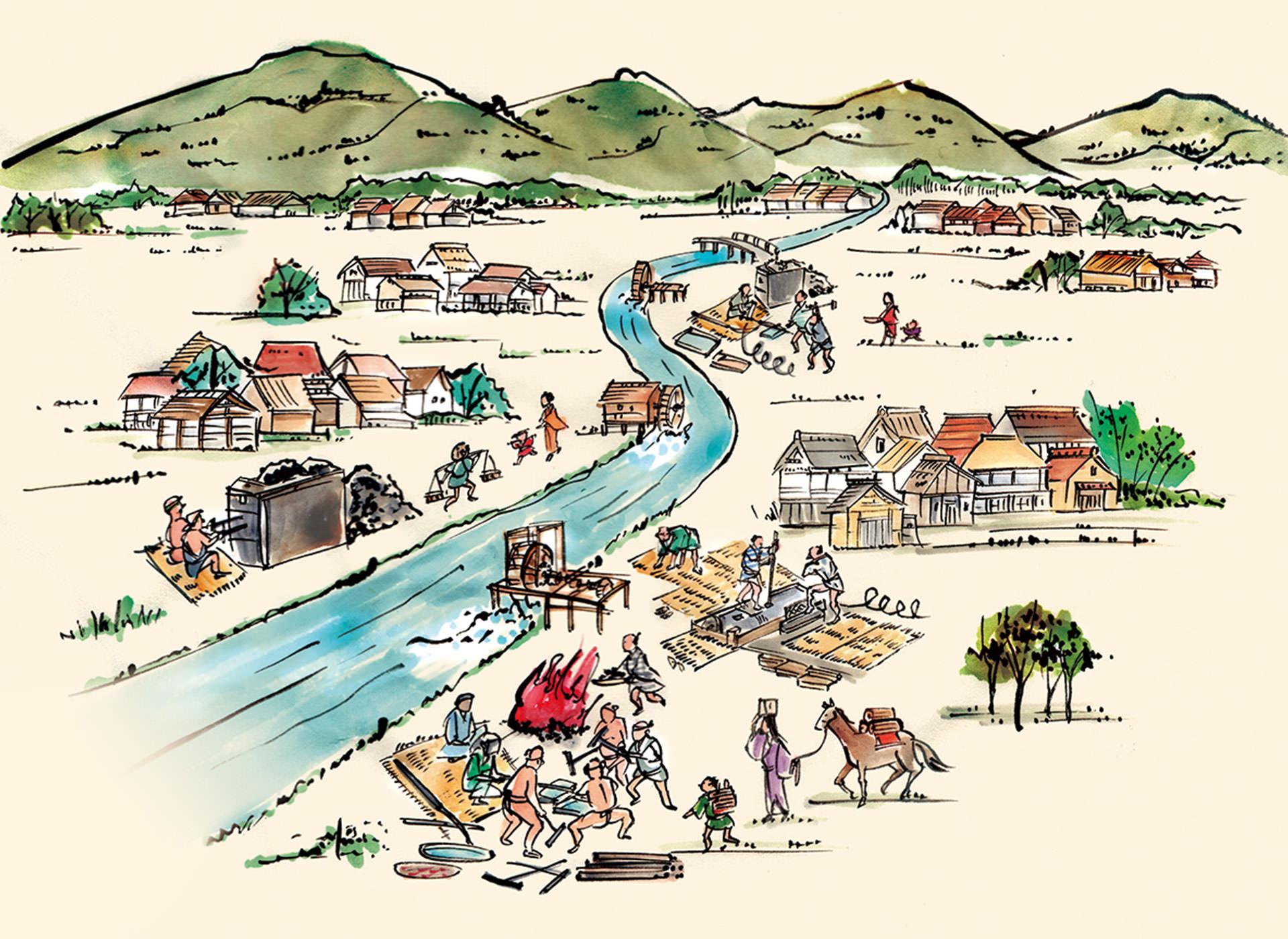 江戸時代後期にはじまったとされる、枚岡地域の伸線業