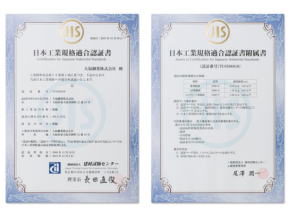 日本工業規格適合認証書